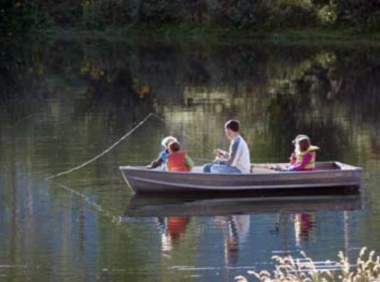 Fishing on lake for children