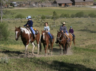Dude ranch riding for kids in Montana USA